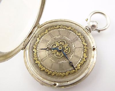 Antique 1884 Hallmarked Sterling Silver Applied Gold Dial Pocket Watch LAYBY AVA