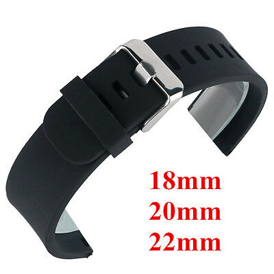 18mm 20mm 22mm Silicone Watch Band Wrist Rubber Men Strap Sport Diver Waterproof