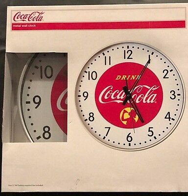 """Coca Cola Metal Wall Clock 15"""", Retro Style, New in Package"""