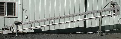 "Stainless Food Grade Powered Inclined Cleated Belt Conveyor 8"" wide"
