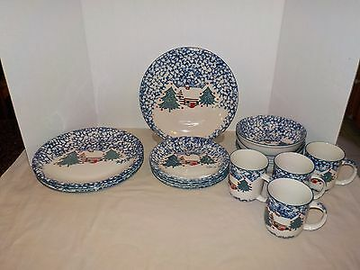 CABIN IN THE SNOW Folk Craft Tienshan CHRISTMAS 16 Pieces (4 Place Settings) NEW