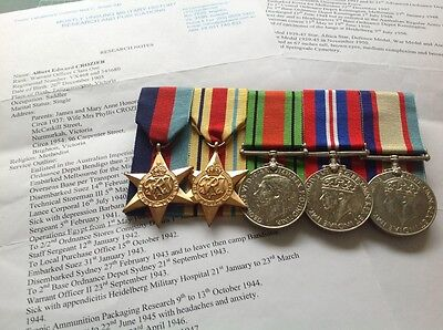 WW2 Australian Africa Group of five, named and researched