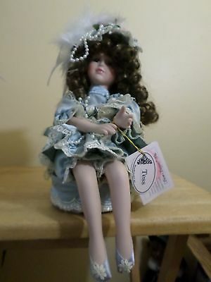 "Show Stoppers 12"" Collectible Porcelain Tess Doll Sitting On Music Box Working"