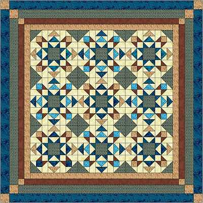 Easy Quilt Kit/Reach the Stars/Pre-cut Fabrics Ready To Sew!/Turquoise,Brown