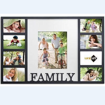 UniGift FAMILY 9 in 1 Wooden Photo Collage Frame BLACK GIFT DECOR