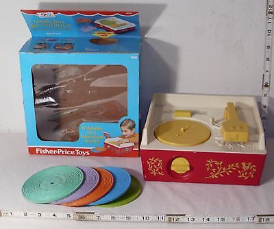 Fisher Price Music Box Record Player Set 1971 Boxed Complete Working