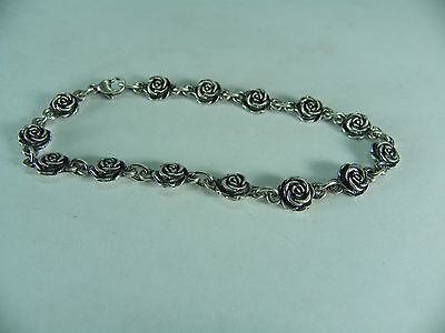James Avery Rose Flower Chain Link Bracelet Sterling Silver 925