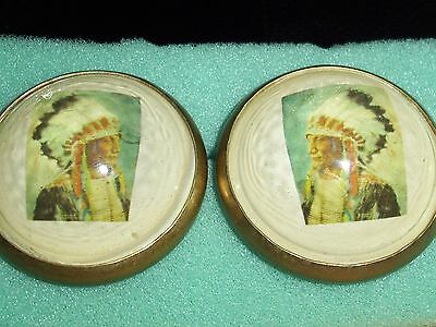 horse bridle rosettes / buttons----indian chief