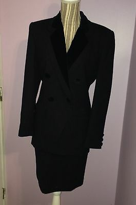 Vintage 1980's Christian Dior Women's Black Skirt Suit With Velvet Detail Size 4