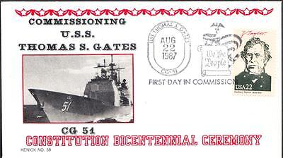 Cruiser USS THOMAS S. GATES CG-51 COMMISSIONING Fancy Cancel Naval Cover