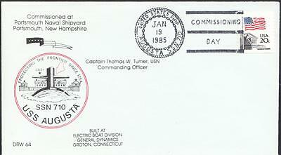 Submarine USS AUGUSTA SSN-710 COMMISSIONING Fancy Cancel Naval Cover