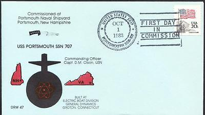 Submarine USS PORTSMOUTH SSN-707 COMMISSIONING Fancy Cancel Naval Cover