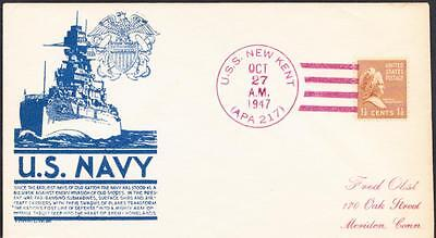 Attack Transport USS NEW KENT APA-217 Navy Day 1947 Naval Cover