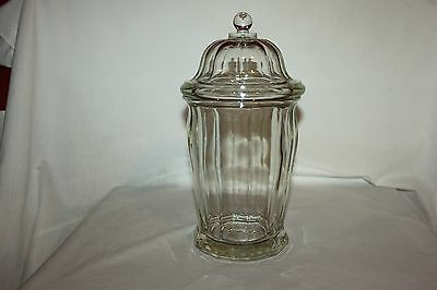 Antique Large Heavy Clear Glass Drug Store Apothecary Candy Jar Lidded