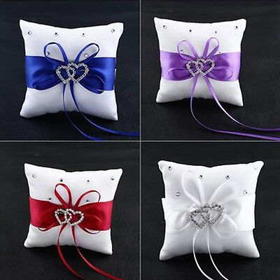 Bridal Wedding Ceremony Ring Bearer Pillow Cushion Crystal Double Heart