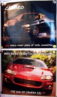 Lot of 2 2001 01 2000 00 Chevy  Chevrolet Camaro  SS Posters