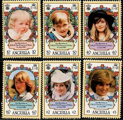 ANGUILLA Sc#485-491 1982 Princess Diana 21st Birthday Set & SS Complete OG MNH
