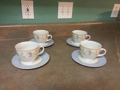 Set Of 4 Cups & Saucers Enchanted Garden Fine China- Heritage Mint