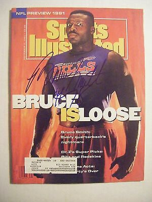 BRUCE SMITH signed BILLS 1991 Sports Illustrated football magazine Autographed