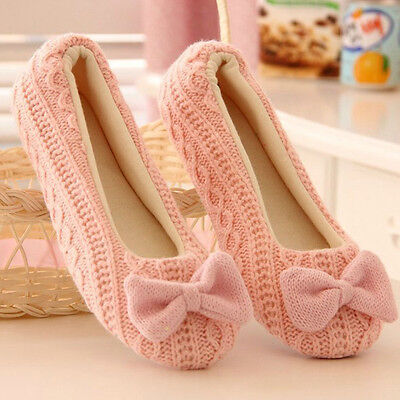 Women Ladies Home Floor Soft Women Winter indoor Slippers Outsole Bow Shoes