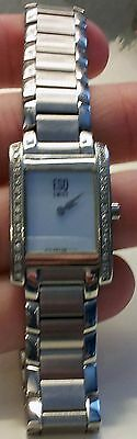 Ladies ESQ Swiss Mother of Pearl & Diamond Rectangular Wrist Watch