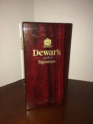 Dewar's Signature Wooden Box Display Without Scotch Whisky Bottle Cherry Finish