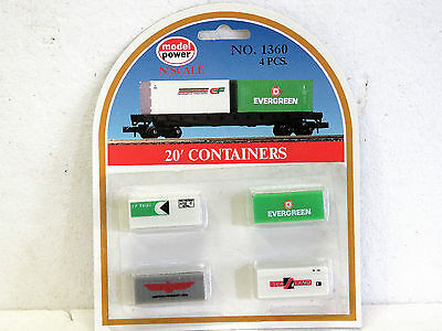 MODEL POWER N Scale 20' CONTAINERS #1360 4 in pack New