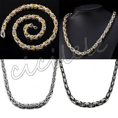 "22"" Stainless Steel 6mm Mens Black Silver Gold Byzantine Box Link Chain Necklace"
