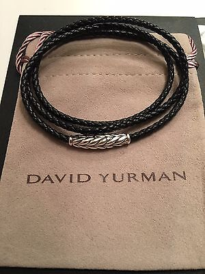 David Yurman SS Chevron Triple-Wrap BLACK Woven Leather Bracelet  w/ Pouch NWOT