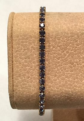 JOAN RIVERS Classics Tanzanite Crystal TENNIS LINE Gold Plated Bracelet - 7.5""