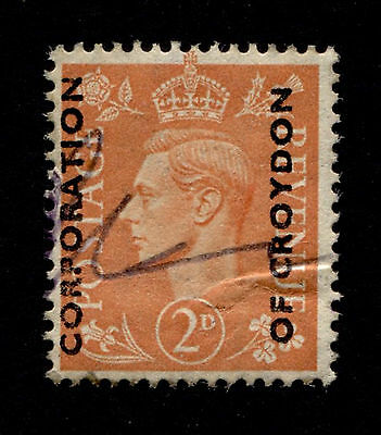 OPC GB 2p KGVI Corp. of Croydon Commercial or Security Overprint used creased