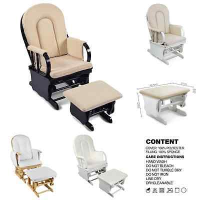 Glider Baby Breast Feeding Rocking Chair Wooden Sliding With Ottoman 4 Colors