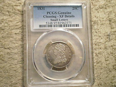 1831 Capped Bust Quarter Xf Genuine Pcgs/ Small Letters/ Cleaned
