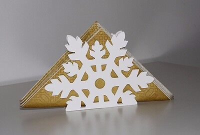 Snowflake Cut Out Xmas Design Napkin Holder Stand White