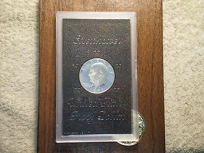 1971 S Proof D. Eisenhower Silver Dollar/ Original Brown Boxx/ Some Clouding