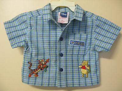Disney brand baby boys blue check cotton drill embroidered shirt size 6 months