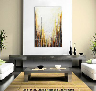 LARGE MODERN ART ORIGINAL AMBER ABSTRACT CONTEMPORARY OIL PAINTING ~ L. Beiboer