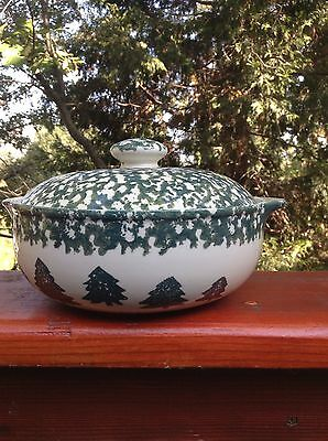 Tienshan Country Folk Craft Sponge Covered Casserole Pine Trees