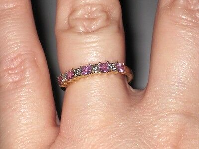 Pink Topaz 9 stone Ring Solid 10K Yellow Gold Size 7