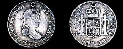 1822-PTS PJ Bolivian 1/2 Real World Silver Coin - Bolivia - Holed