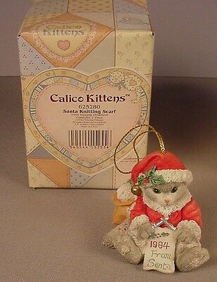 Enesco Calico Kittens figurine Christmas Ornament MIB  Santa 625280 1994 Cats #2