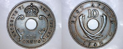 1942 East African 10 Cent World Coin - British Admin Kenya
