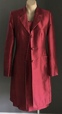 Pre-owned Silk Tailor Made Red  3 piece Suit-Long Jacket, Skirt & Dress Size 10