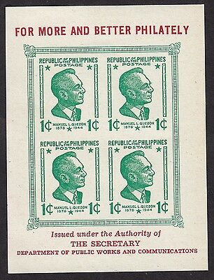Philippines 1947 Quezon  Mini-Sheet - Mint