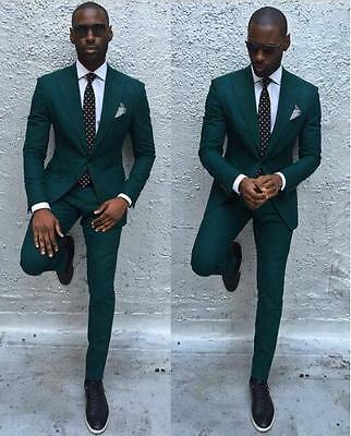 New Dark Green Men Suits Formal Business Tuxedos Men Wedding Suit Jacket+Pants