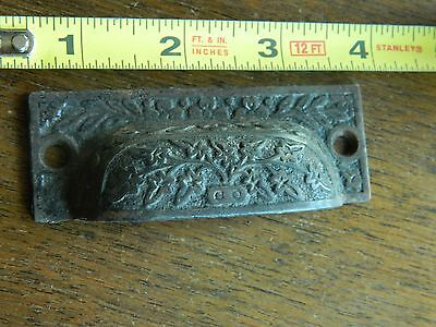 Antique Eastlake Drawer Pull Ornate Flower Urn Vase, Cast Iron Hardware Bin Pull