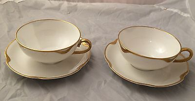 Two Cup & Saucers Sets Haviland Limoges France Silver Anniversary