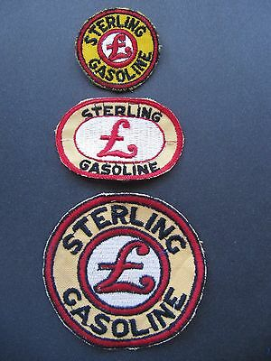 3 Lot Vintage Sterling Gasoline Embroidered Uniform Patches