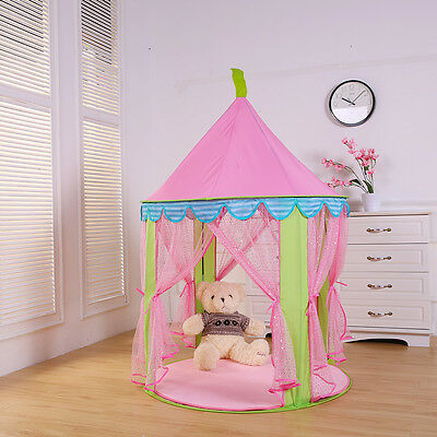 Girls Pink Princess Castle Cute Playhouse Children Kids Play Tent Toys