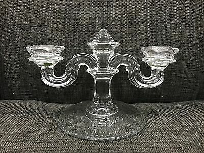 Etched Clear Glass Candle Holder for 2 Candles
